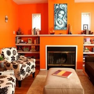 Moderne orange Farbgestaltung im Wohnzimmer?