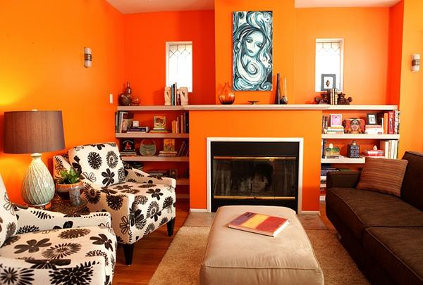 Wohnzimmer Orange Dekorieren