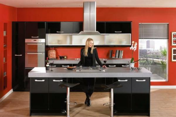 cooles design von einer küche - schwarze möbel und rote wände