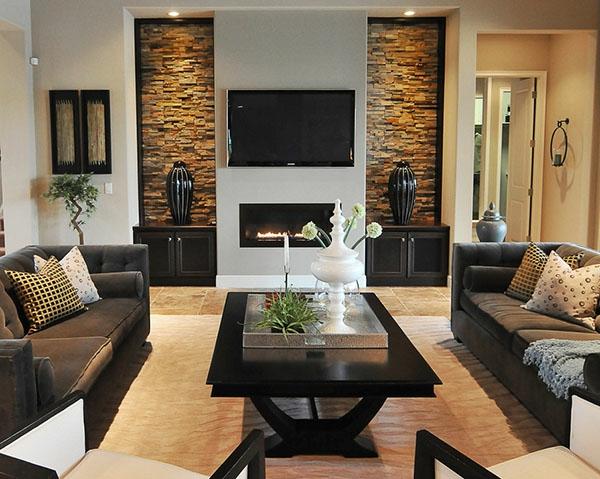 Deko wohnzimmer wand  100 fantastische Ideen für elegante Wohnzimmer! - Archzine.net