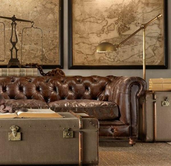 zimmer-einrichtungsideen-kreativ-gestaltetes-wohnzimmer-mit-einem-braunen-ledersofa