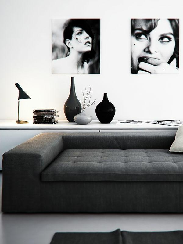 wohnzimmer einrichten - foto in weiß und schwarz