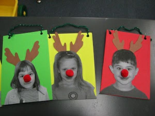 bastelideen für kindergarten - kinder wie rudolf aussehen - grpn  gelb und rot