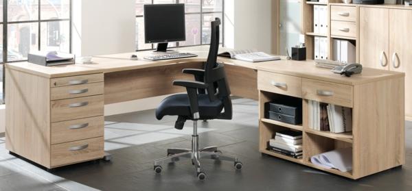 Grosser Büro Schreibtisch ~  BüroSchreibtischausHolzschönesDesignmitSchubladen