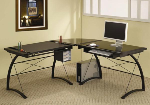 Minimalist-Design-schwarzer-Schreibtisch