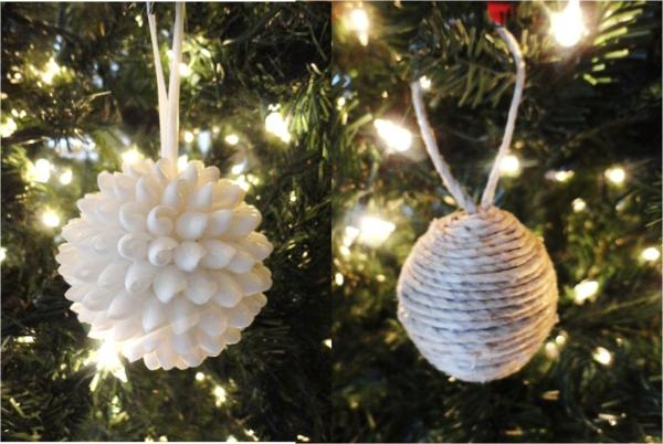 weiße weihnachtsdeko für den weihnachtsbaum - weiße kugeln