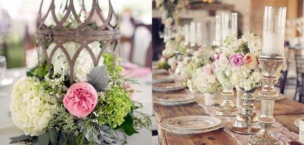 Vintage Hochzeit – Tischdeko mit vielen Blumen!