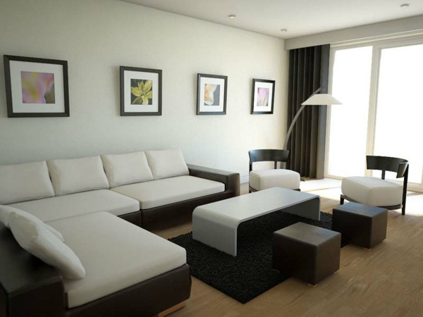 wohnzimmer einrichten - sofa in weißer farbe