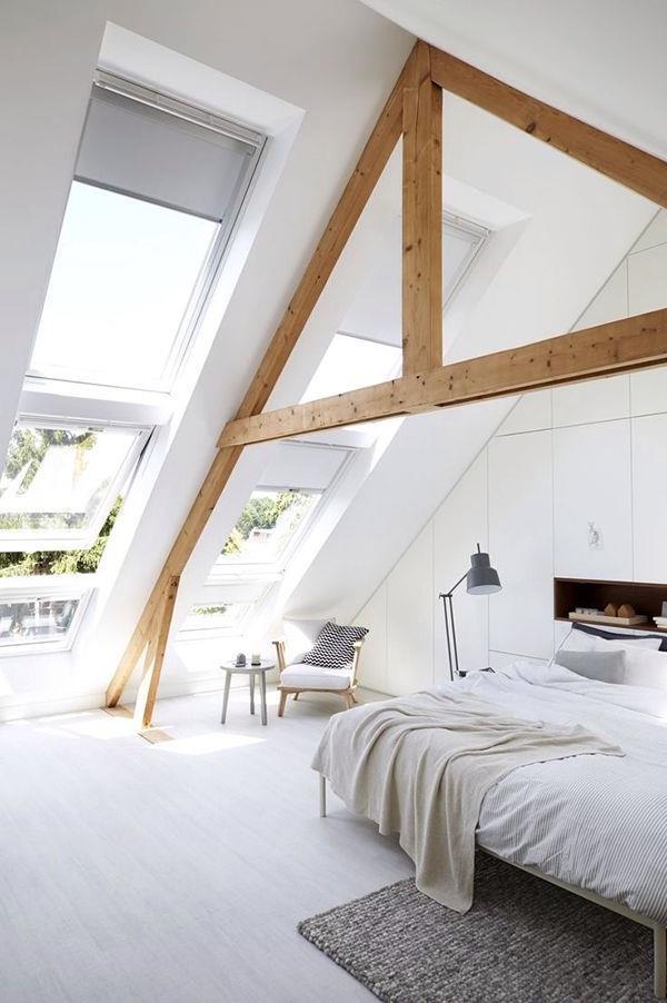 Dachzimmer-modernes-Schlafzimmer-in-Weiß