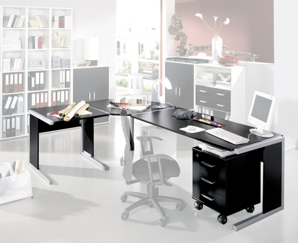eckschreibtisch schwarz. Black Bedroom Furniture Sets. Home Design Ideas