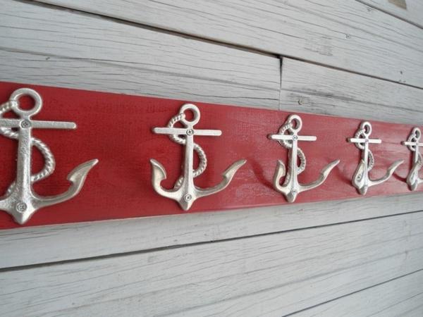 Garderobenhaken-Design-Anker-in-Rot