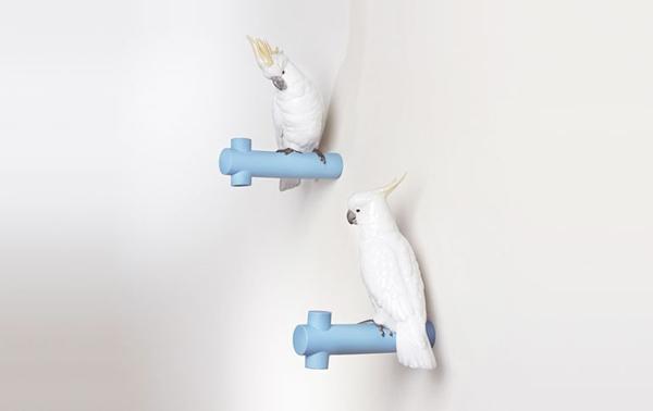 Garderobenhaken-mit-tollem-Design-blau-mit-weißen-Papageien