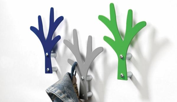 Garderoben-haken-mit-tollem-Design--in-verschiedenen-Farben-Grün-Blau-Silber