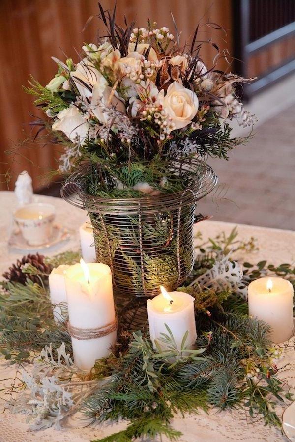 Vintage Hochzeit Hochzeitsdeko-günstig-Hochzeitsdeko-selber-machen-Blumendeko-für-Tisch-Kerzen-in-Weiß