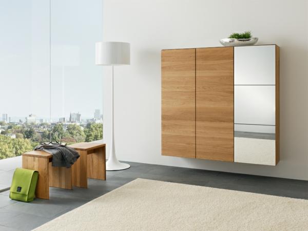 Interior-Design-Ideen-Flurmöbel-aus-Holz-Schrank-und-Sitzbank