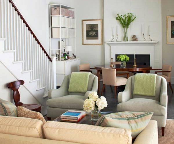 kleines wohnzimmer einrichten - kamin und sessel