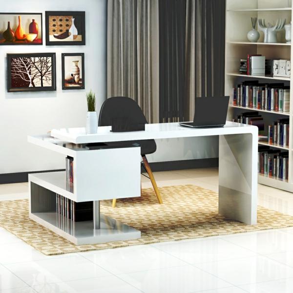Schreibtisch-Holz-moderne-Schreibtische--in-Weiß