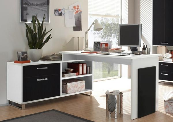 Schreibtisch-Schwarz-Weiß-effektvolles-Design