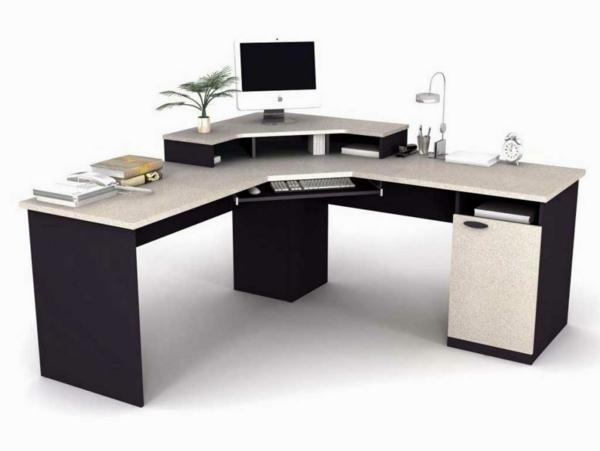 Schreibtisch-Schwarz-Weiß-modernes-Design- Computertisch