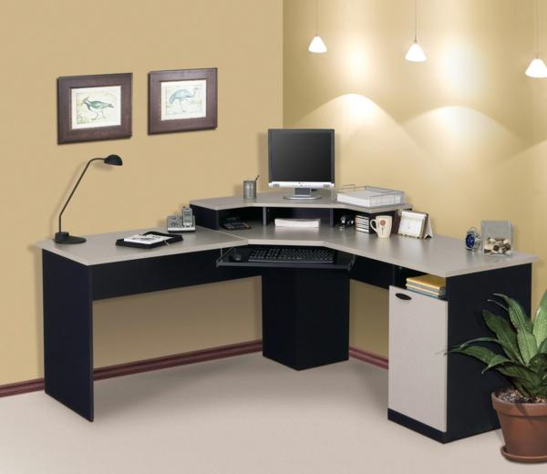 Schreibtisch-Schwarz-und-Weiß-Design-Idee