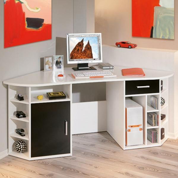 Schreibtisch-Weiss-in-der-Ecke--