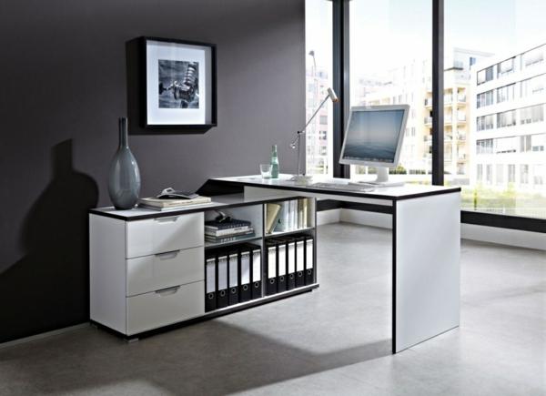 Schreibtisch-Weiss-mit-Regalen-und-Schubladen
