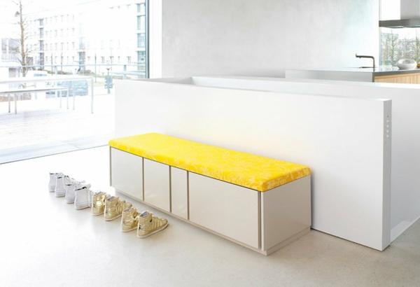 Sitzbänke -Sitzbank-Flur-fantastisches-Design-in-Weiß-und-Gelb