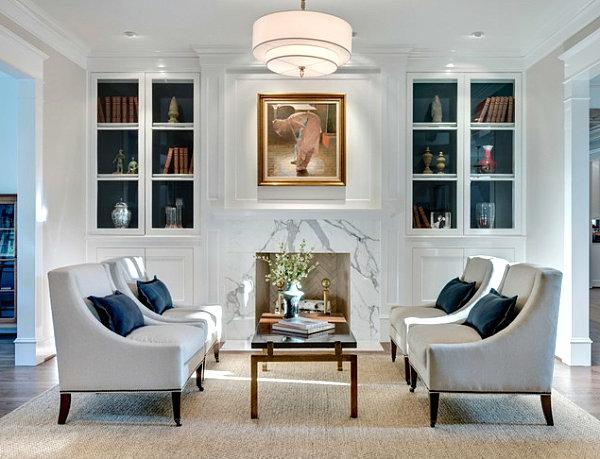 kleines wohnzimmer einrichten - marmor kamin