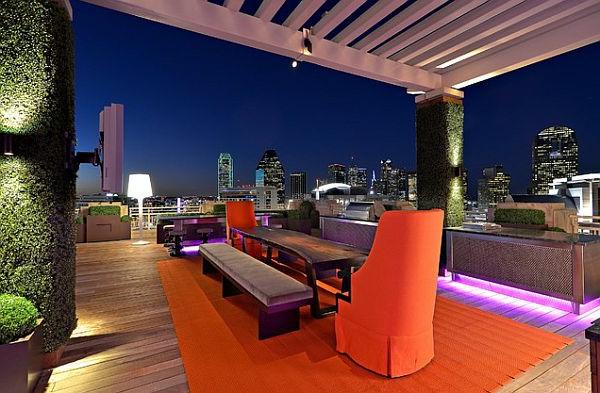 Urban-Terrasse-mit-ultra-modernem-Design-Dachterrasse-moderne Terrassengestaltung