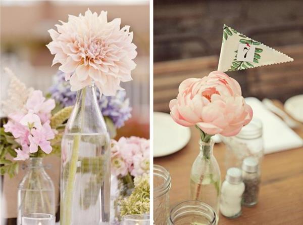 Vintage-Blumendeko-rosa-Blumen