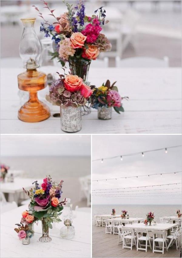 Vintage-Hochzeit--fantastische--Blumendeko-für-Tisch