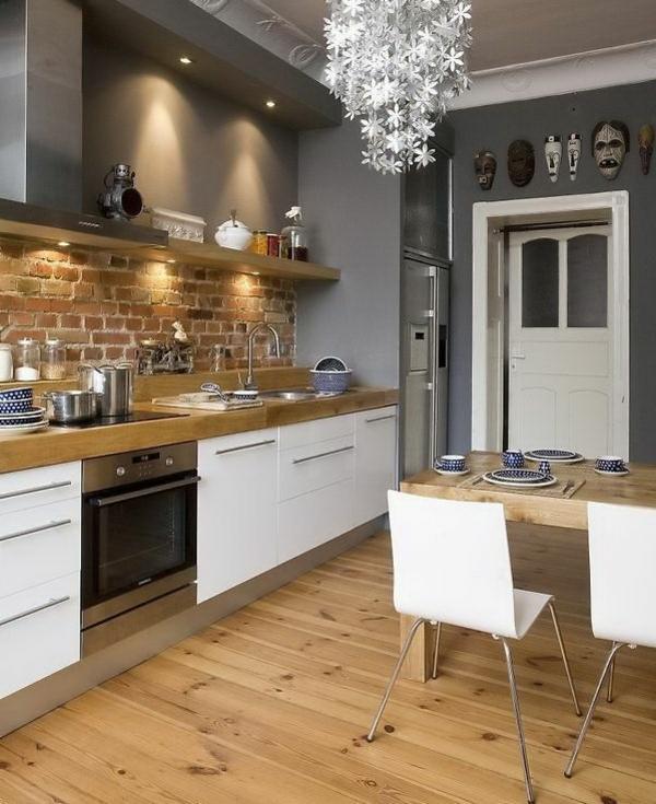 Wohnideen-für-das-Interior-Design-Boden-Holz-in-der-Küche