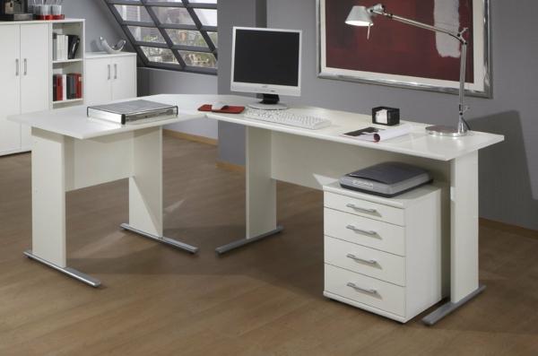 Wohnideen-für-das-Interior-Design-Schreibtisch-Weiss-für-die-Ecke