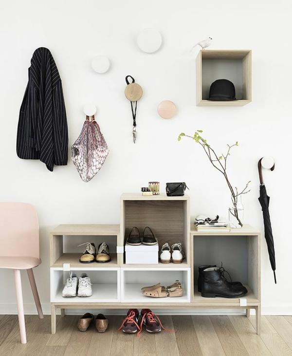 Wohnideen-für-das-Interior-Design-praktische-Flurmöbel-Schuhaufbewahrung