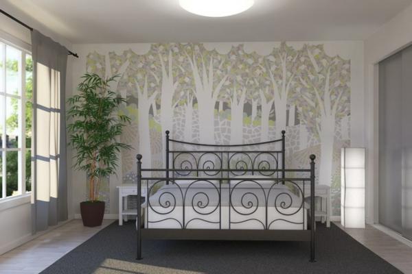 auffällige-retro-tapeten-im-weißen-schlafzimmer