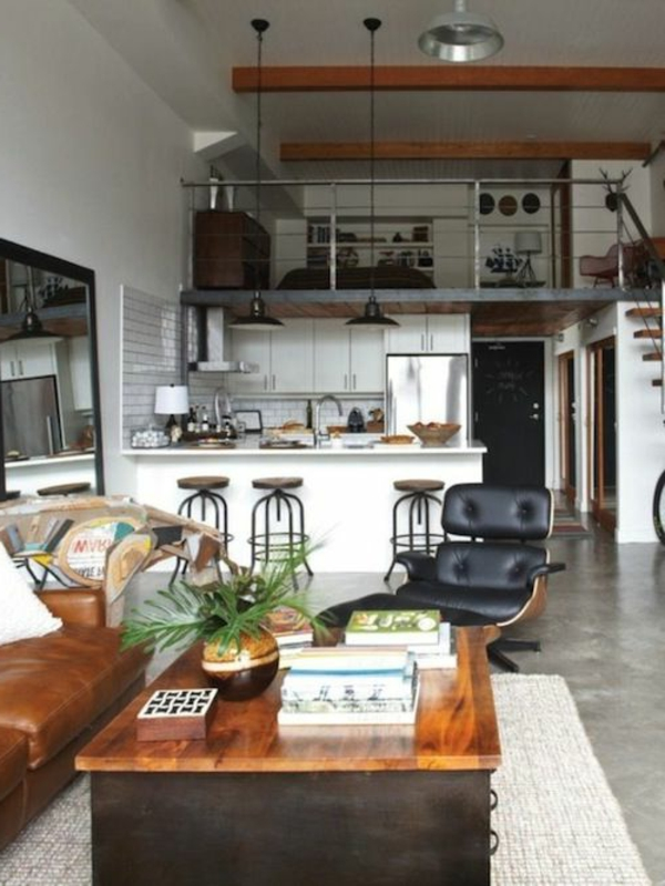 wohnzimmer einrichten - spiegel und tisch