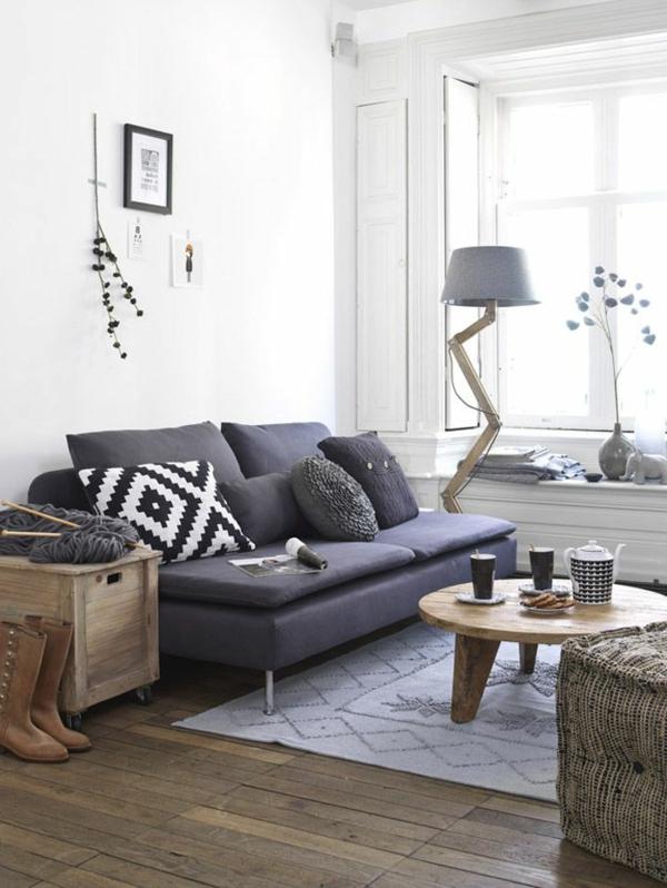 wohnzimmer einrichten - weiß und grau