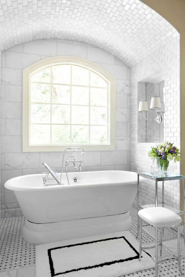 best-small-bathroom-designs-with-white-freestanding-bath-tub-combined-stainless-faucet-also-high-iron-side-table-organizer-storage-and-plaid-bay-windows-featuring-white-framed-small-rugs-in-polka-dot-resized