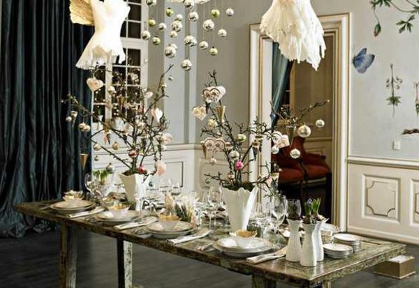 weiße weihnachtsdeko -für den tisch