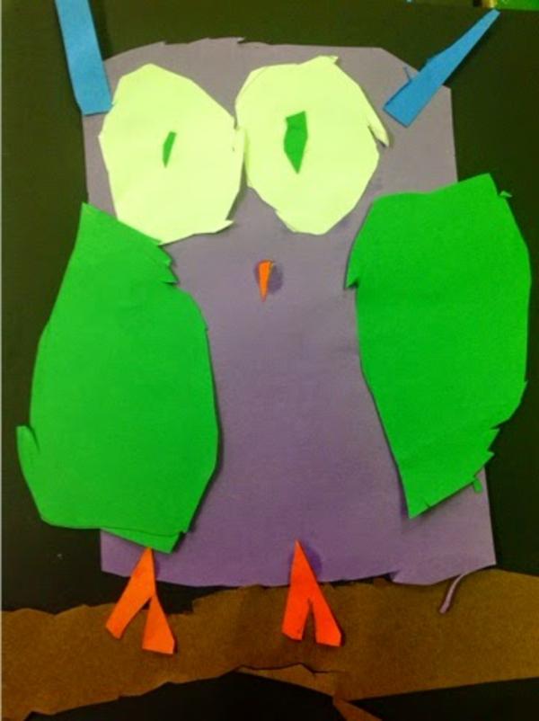 bastelideen für kindergarten - ein papier uhu - vom kleinen kind gemacht