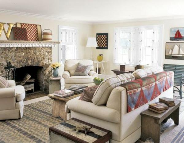 wohnzimmer einrichten - kamin und couch in weiß