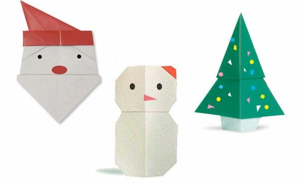 coole weihnachts origami - weißer hintergrund