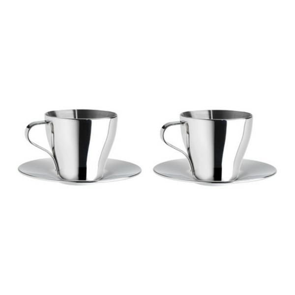 coole-silberne-espresso tassen-hintergrund-in-weißer farbe