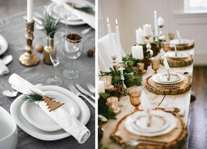 deko ideen weihanchten, esstisch festlich dekorieren, esstischdeko in rustikalm stil