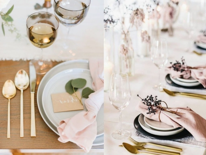 deko ideen wiehnachten, tischdeko in pastellfarben, goldenes geschirr, rosa servietten