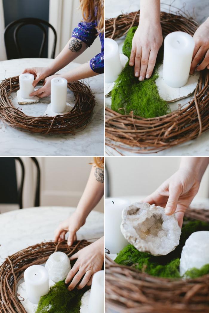 deko weihanchten selber machen, adbentskranz basteln, kranz mit moos und kerzen