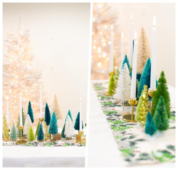 deko weihnachten selber machen, diy bastelideen mit anleitung, selsbtgemachter tischläufer