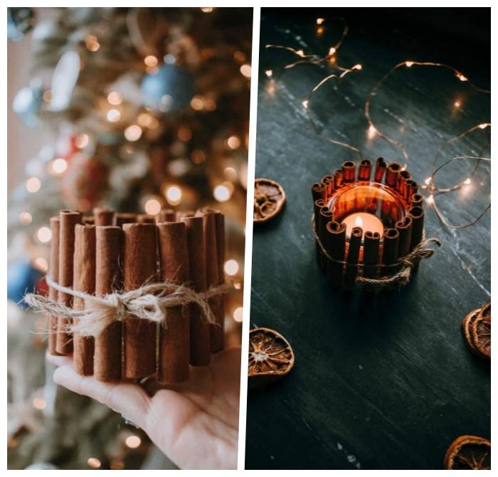 deko weihnachten selber machen, teelichter aus glas dekoriert mit zimt und leinenschnur