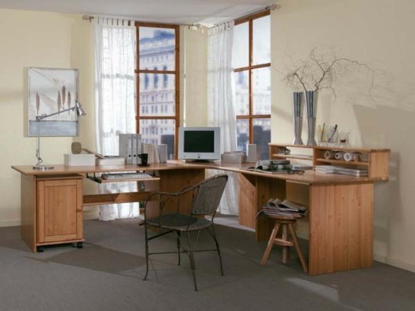 effektvolle-moderne-Schreibtische-Holz-