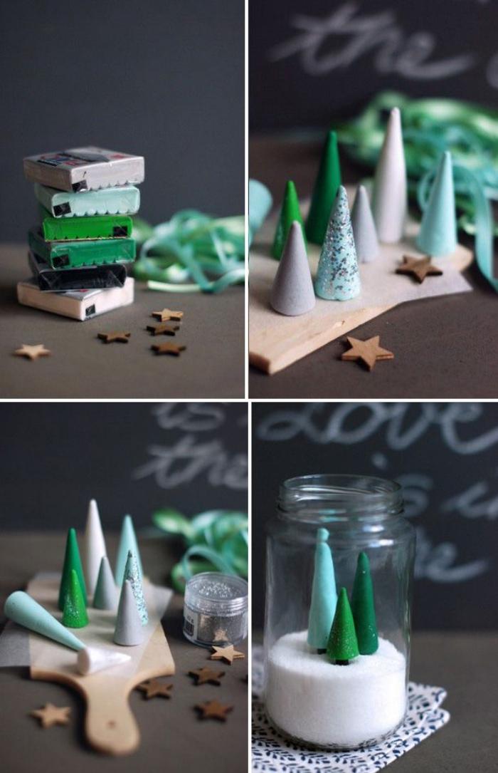 esstisch deko selber machen, tannenbäume aus ton, einmachglas gefüllt mit kunstschnee und kleinen tannenbäumen